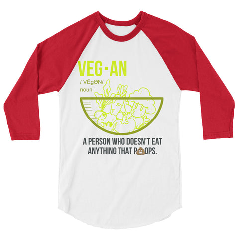 Vegan Noun Women's 3/4 sleeve raglan shirt - The Jack of All Trends