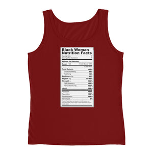 Black Woman Nutritional Facts Ladies' Tank - The Jack of All Trends