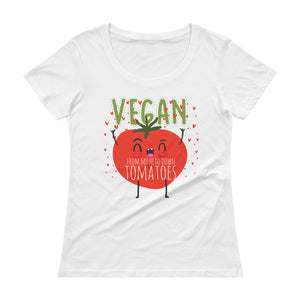 Vegan From My Head Down Tomatoes Ladies' Scoopneck T-Shirt - The Jack of All Trends
