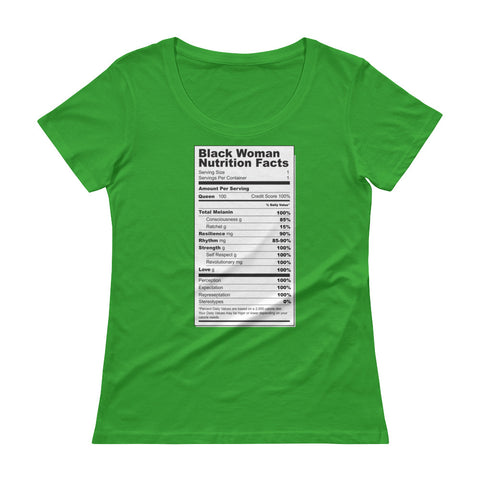 Black Women Nutritional Facts Ladies' Scoopneck T-Shirt - The Jack of All Trends