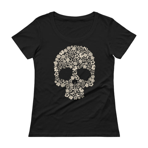 Ladies Flower Skull ' Scoopneck T-Shirt - The Jack of All Trends
