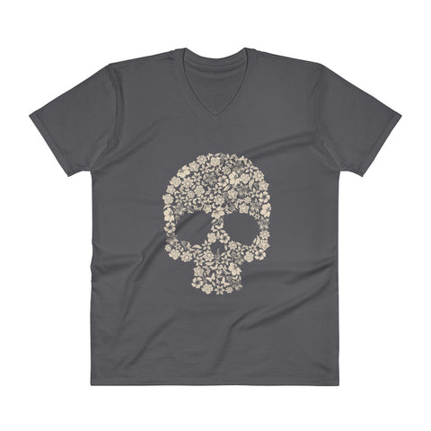 Floral Skull V-Neck T-Shirt - The Jack of All Trends