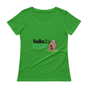 Women's Vodka Is Vegan Scoopneck T-Shirt - The Jack of All Trends