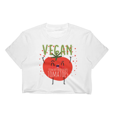 Vegan From My Head Tomatoes Women's Crop Top - The Jack of All Trends