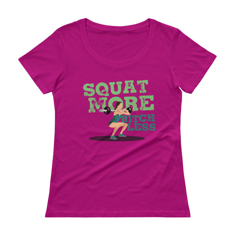 Squat More Shirt Scoopneck T-Shirt Ladies - The Jack of All Trends