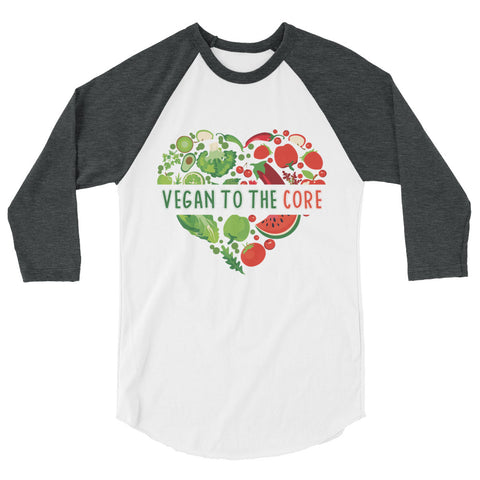 Men's Vegan To The Core 3/4 Raglan Shirt - The Jack of All Trends