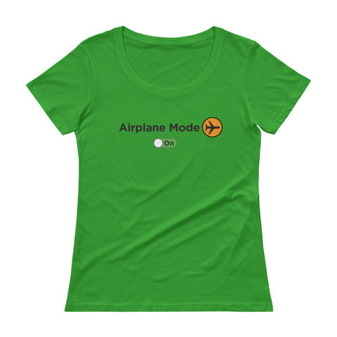 Women's Airplane Mode On Scoopneck Shirt - The Jack of All Trends