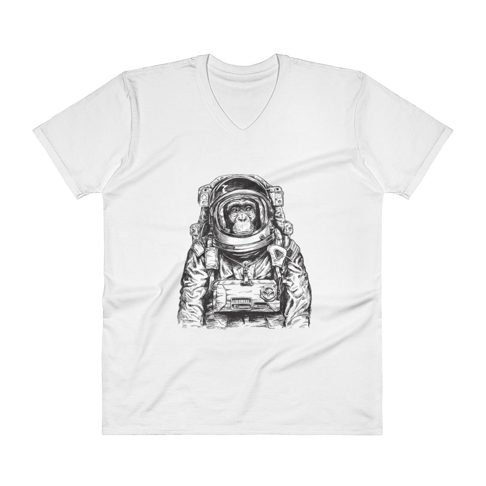 Astronaut Chimp V-Neck T-Shirt - The Jack of All Trends