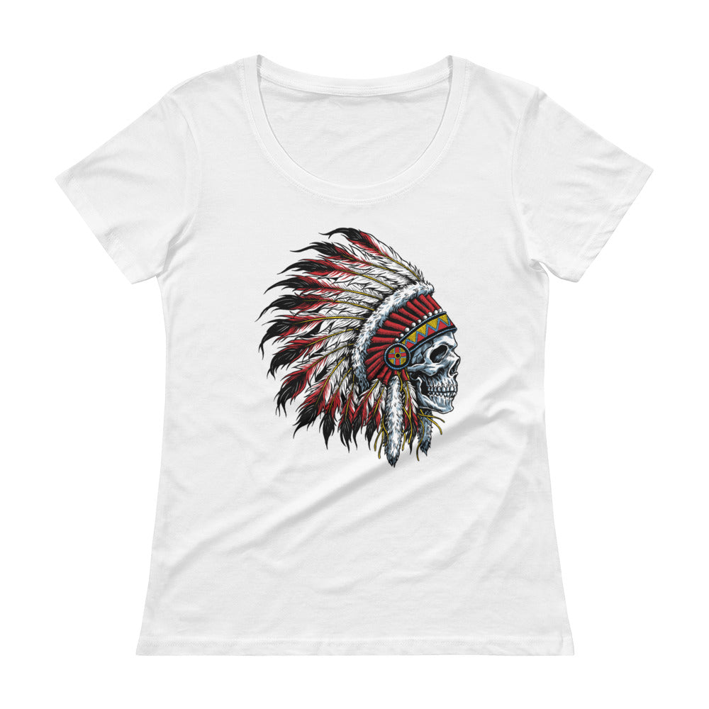 Chief Skull Ladies' Scoopneck T-Shirt - The Jack of All Trends