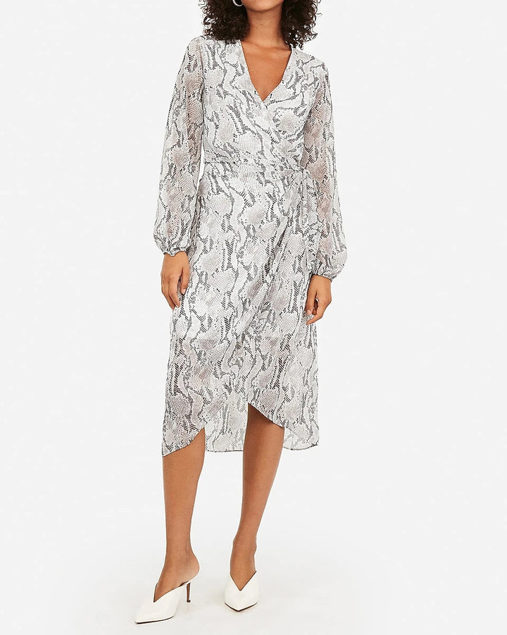 NEW Express White + Gray Snake Pattern Wrap Dress (XL)
