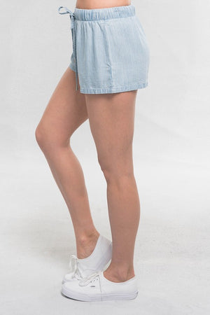 Blue Tencel Chambray Pinstripe Shorts