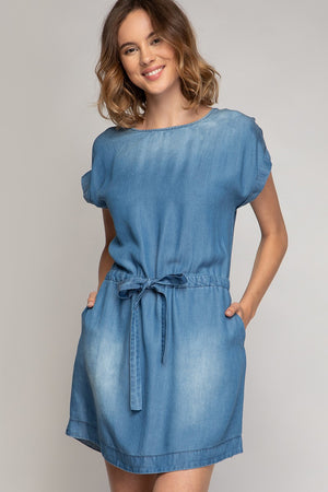 Tencel Denim Drawstring Dress