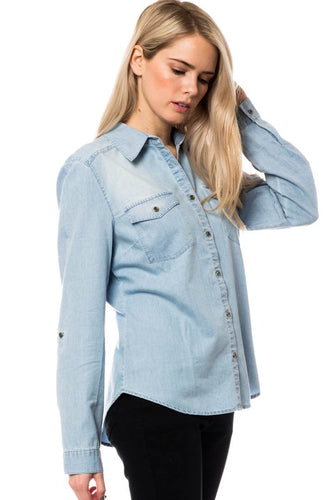Light Blue Tencel Denim Button Down