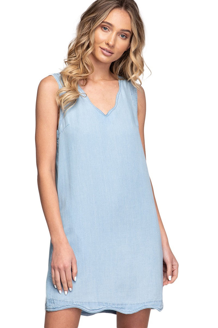 Light Tencel Scallop Trim Dress