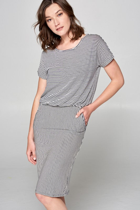 Navy Stripe Day Dress