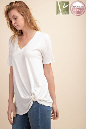 Ivory Bamboo Knit Knotted Top