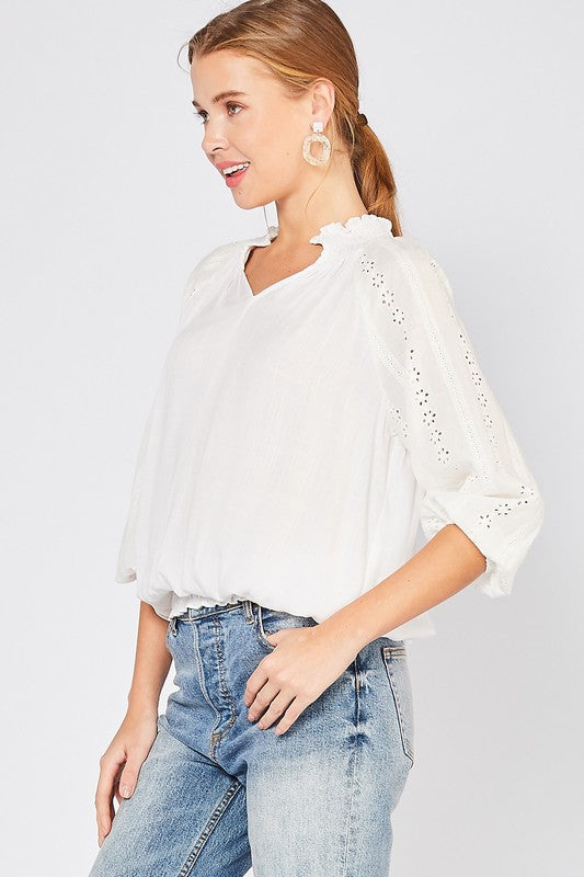 Chic White Eyelet Lace Top