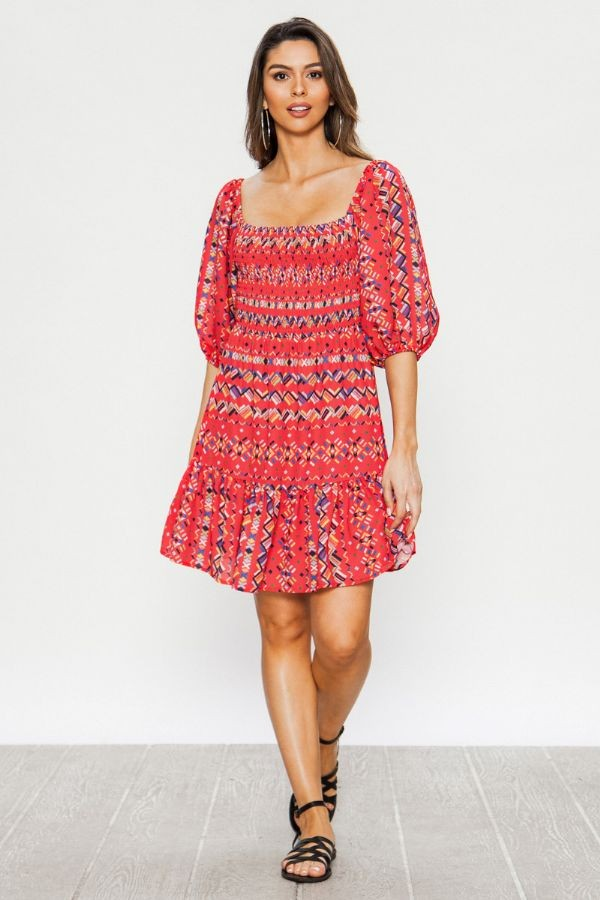 'Mira' Red Boho Peasant Dress