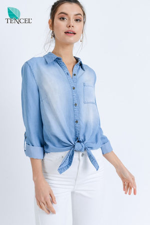 Tencel Denim Tied Button Down