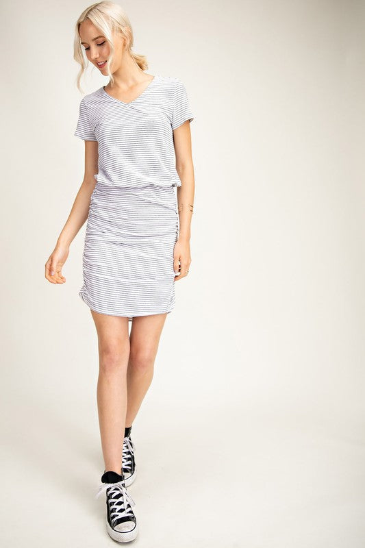 Stripe Ruched T-Shirt Dress