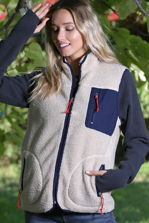 Sherpa & Navy Pocket Vest