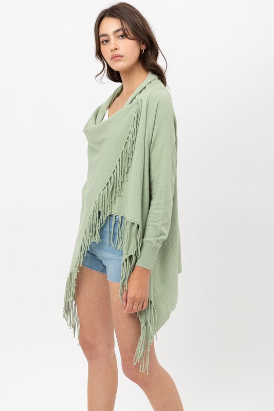 Mint Fringe Draped Cardigan