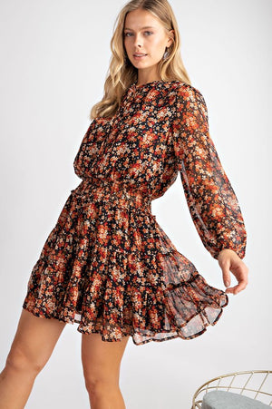 Black Floral Boho Long Sleeve Dress