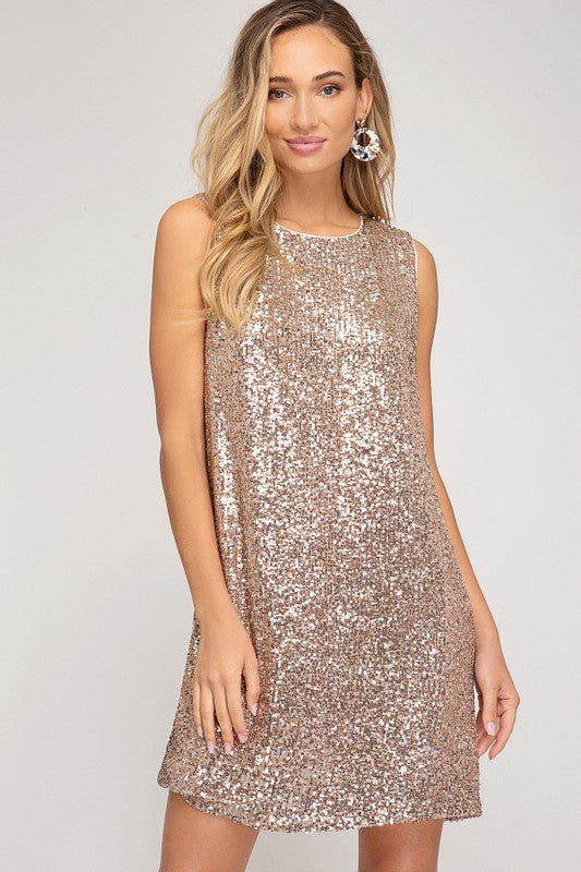 Rose Gold Sequin Shift Dress