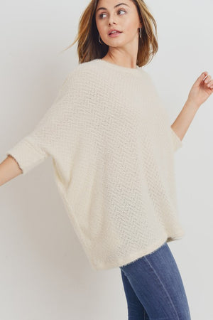 'Nell' Ivory Brushed Sweater Top