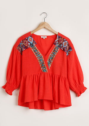 'Mia' Red Embroidered Top