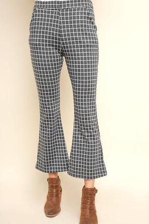 Grey Check High Waist Flare Pants