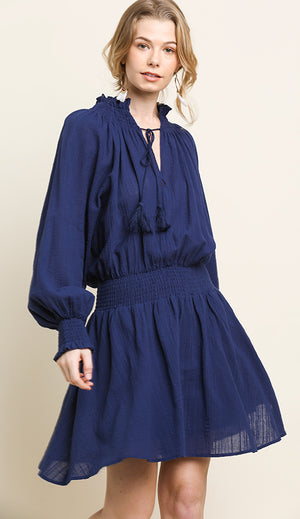 Navy Boho Peasant Dress