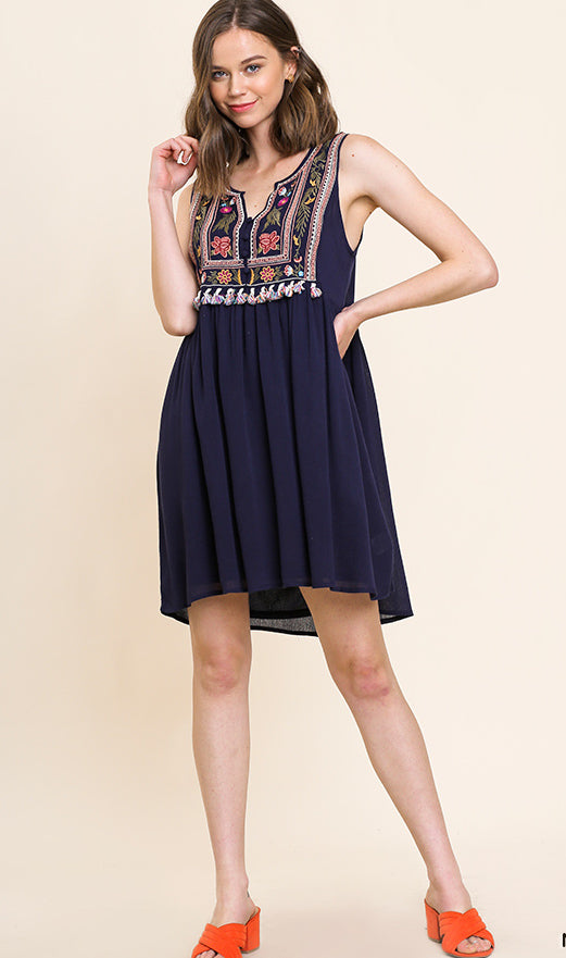 Navy Embroidered Day Dress