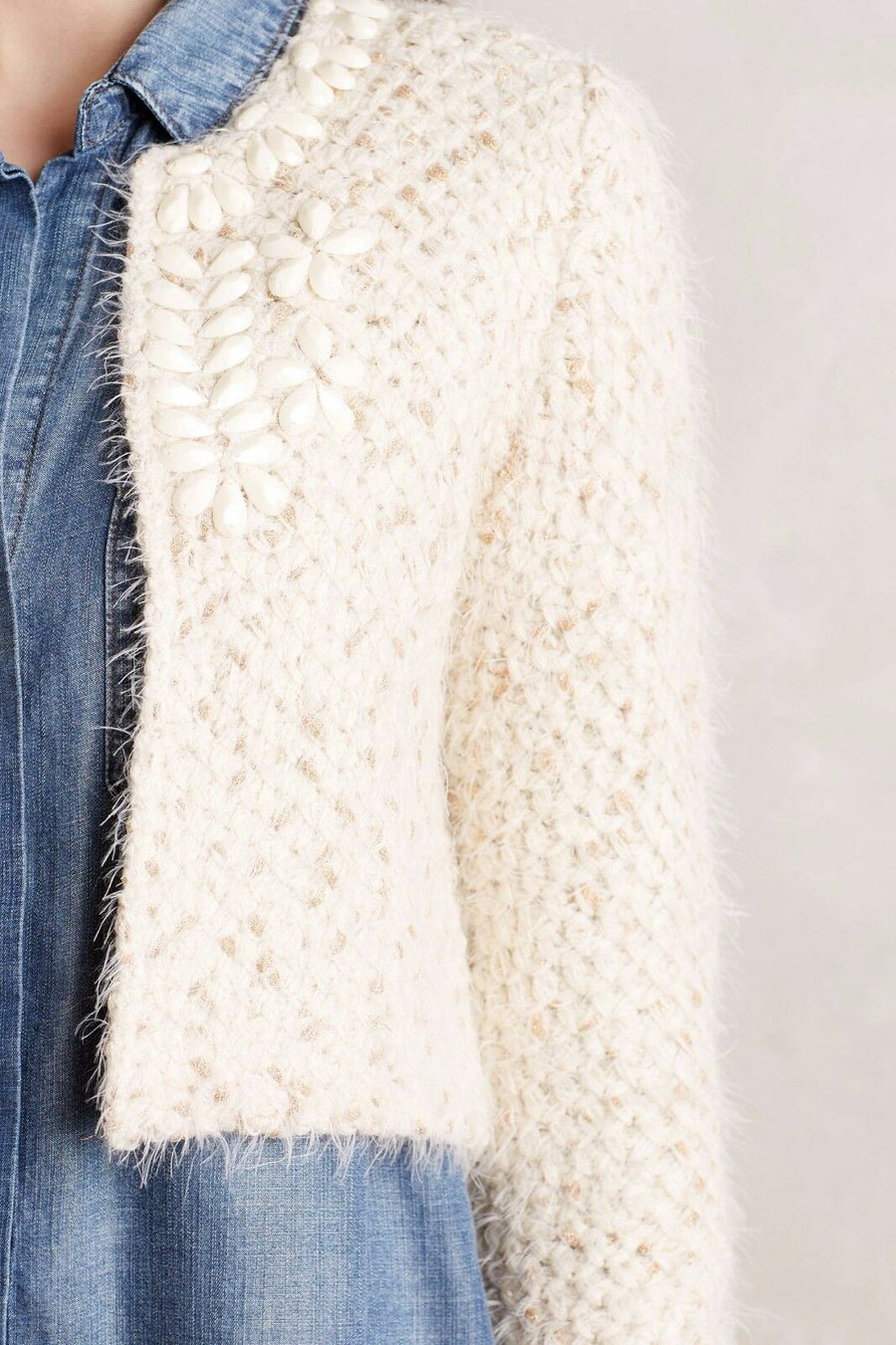 Anthropologie 'Islay' Cropped Beaded Topper Cardigan (XS/S)