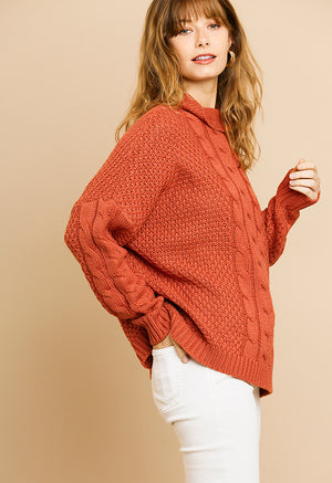 Fall Sunset Cable Knit Pullover