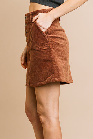 Terracotta Corduroy Skirt