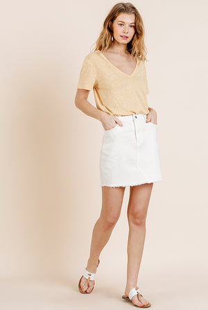 Off-White Stretch Denim Skirt