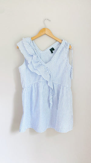 Anthropologie Left of Center Stripe Ruffle Drape Top (L)