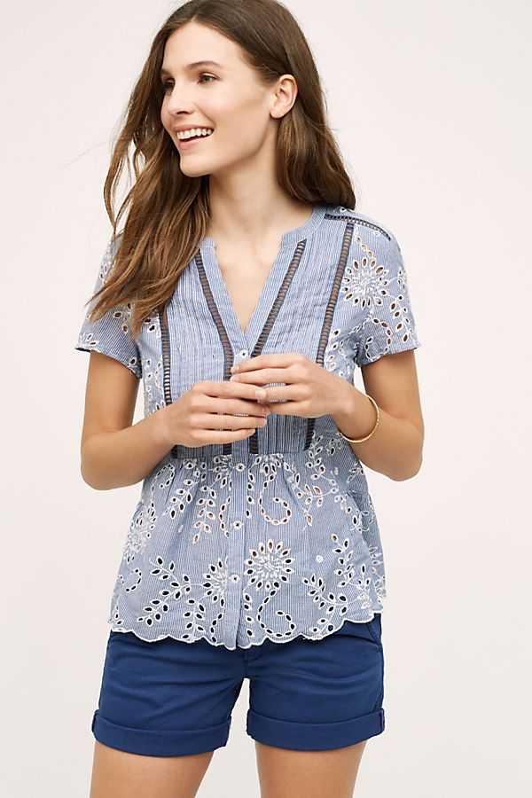 Anthropologie Josune Navy Striped Eyelet Blouse (12)