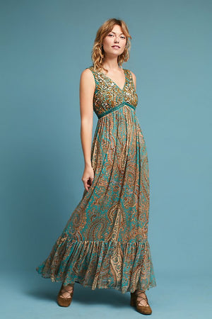 Anthropologie Ranna Gill Gold Beaded Paisley Maxi Dress (8)