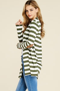 Stripe & Elbow Patch Cardigan