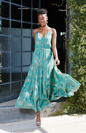 Anthropologie 'Reba' Green Floral Maxi Dress (XL)