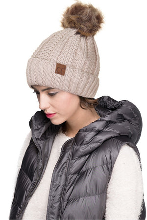 Cable Knit Fleece Pom Pom Beanie