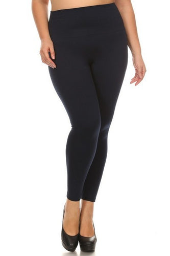 Black Fleece Lined Leggings (Plus Size)