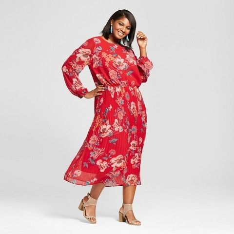 Ava + Viv Red Floral Pleated Dress (2X)