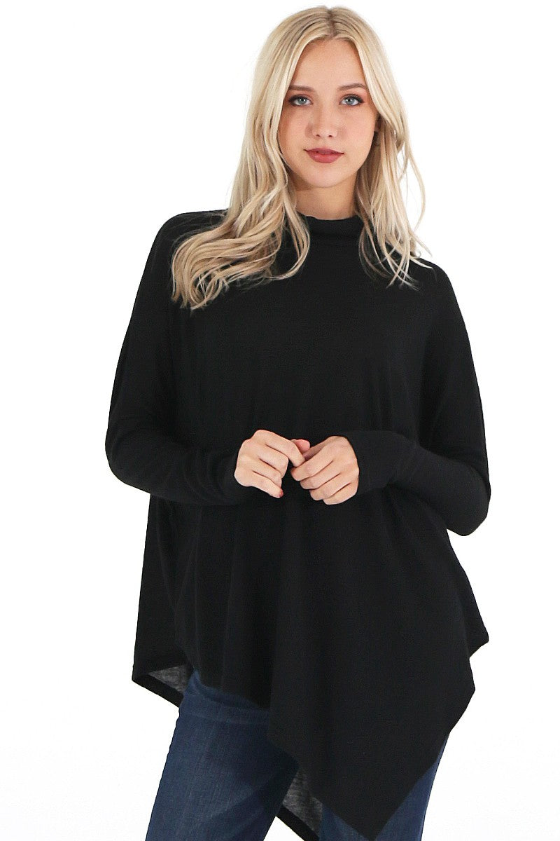 Black Angled Knit Top