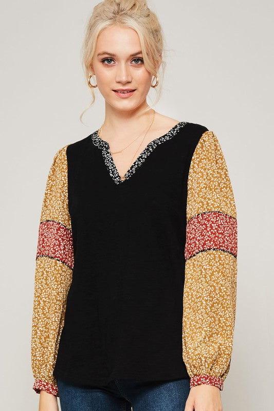 Black & Floral Sleeve Jersey Top