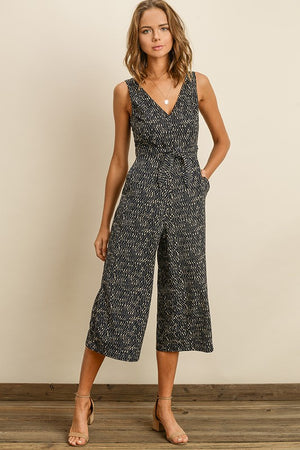 Navy Mosaic Wrap Jumpsuit