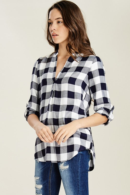 Navy Gingham Plaid Top