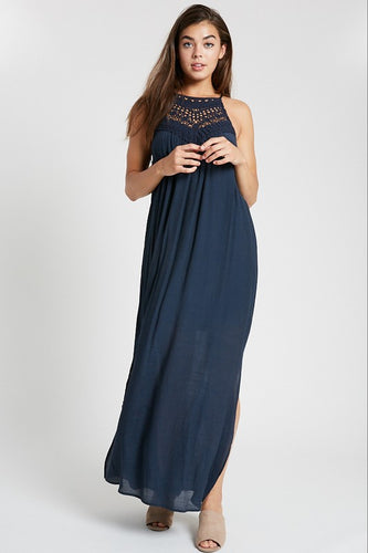 Navy Crochet Neck Maxi Dress